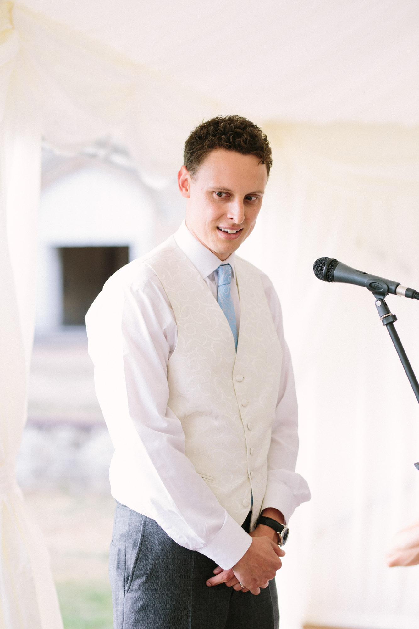 Groom giving speech at Chiddingstone Castle wedding