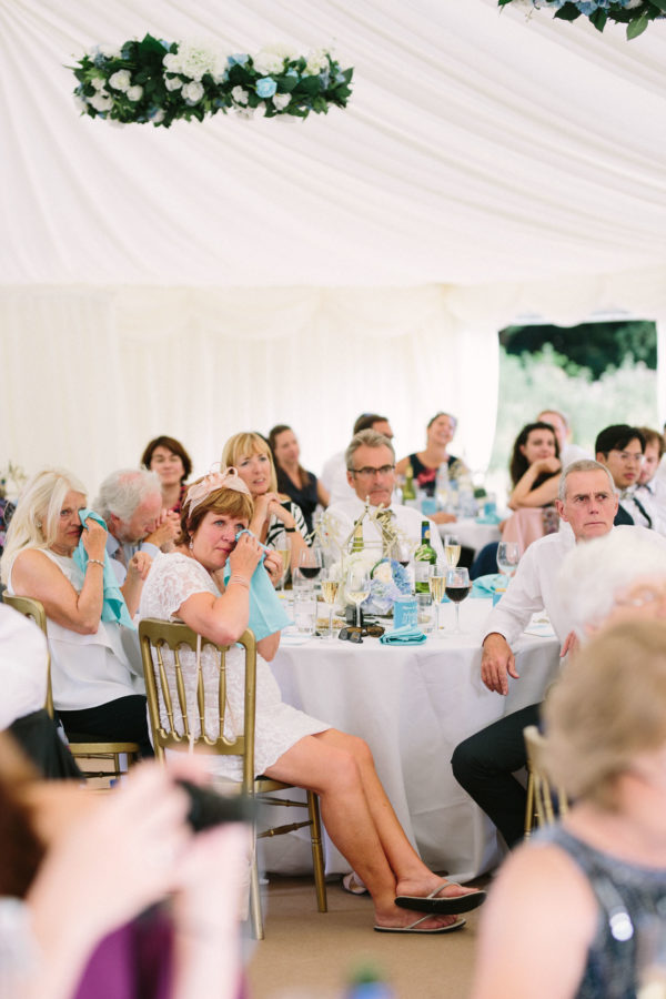 Guests crying during speeches at Chiddingstone Castle wedding