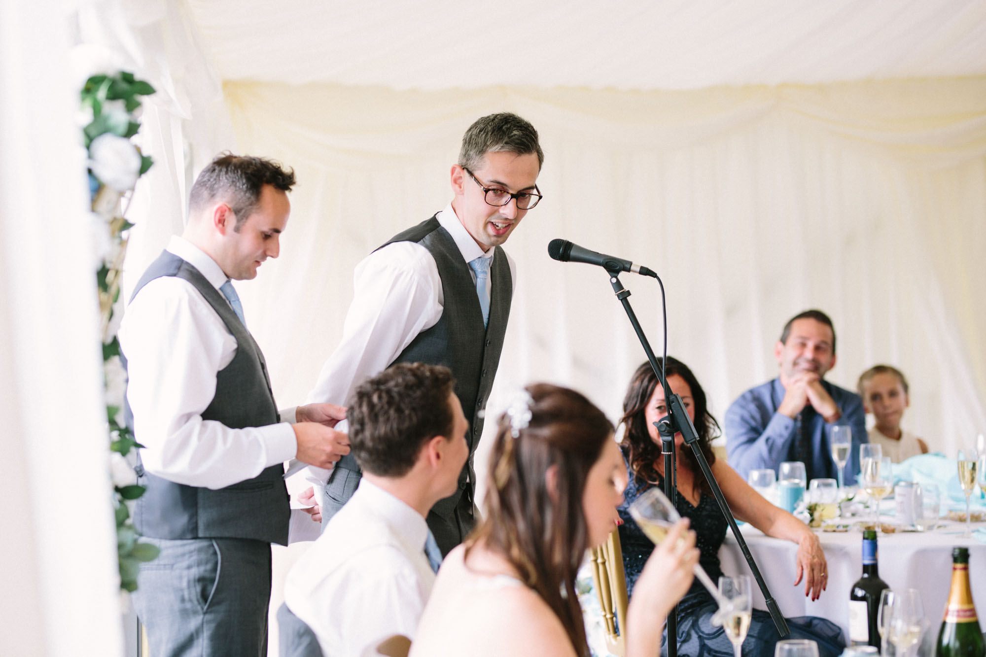 Best men giving speech at Chiddingstone Castle wedding