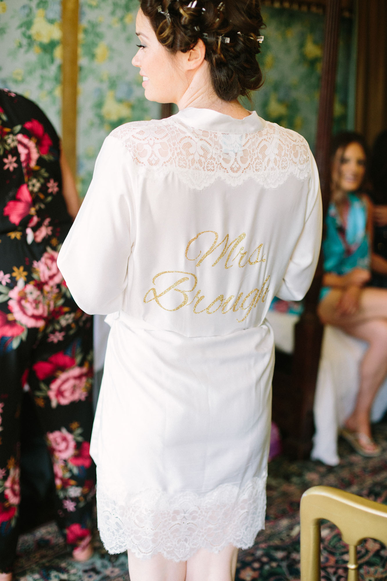 Back of brides personalised white silk dressing gown