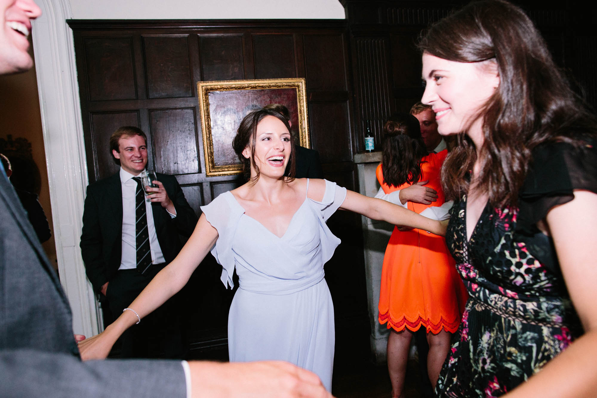 Guests dancing during the evening reception of wedding at Chiddingstone Castle