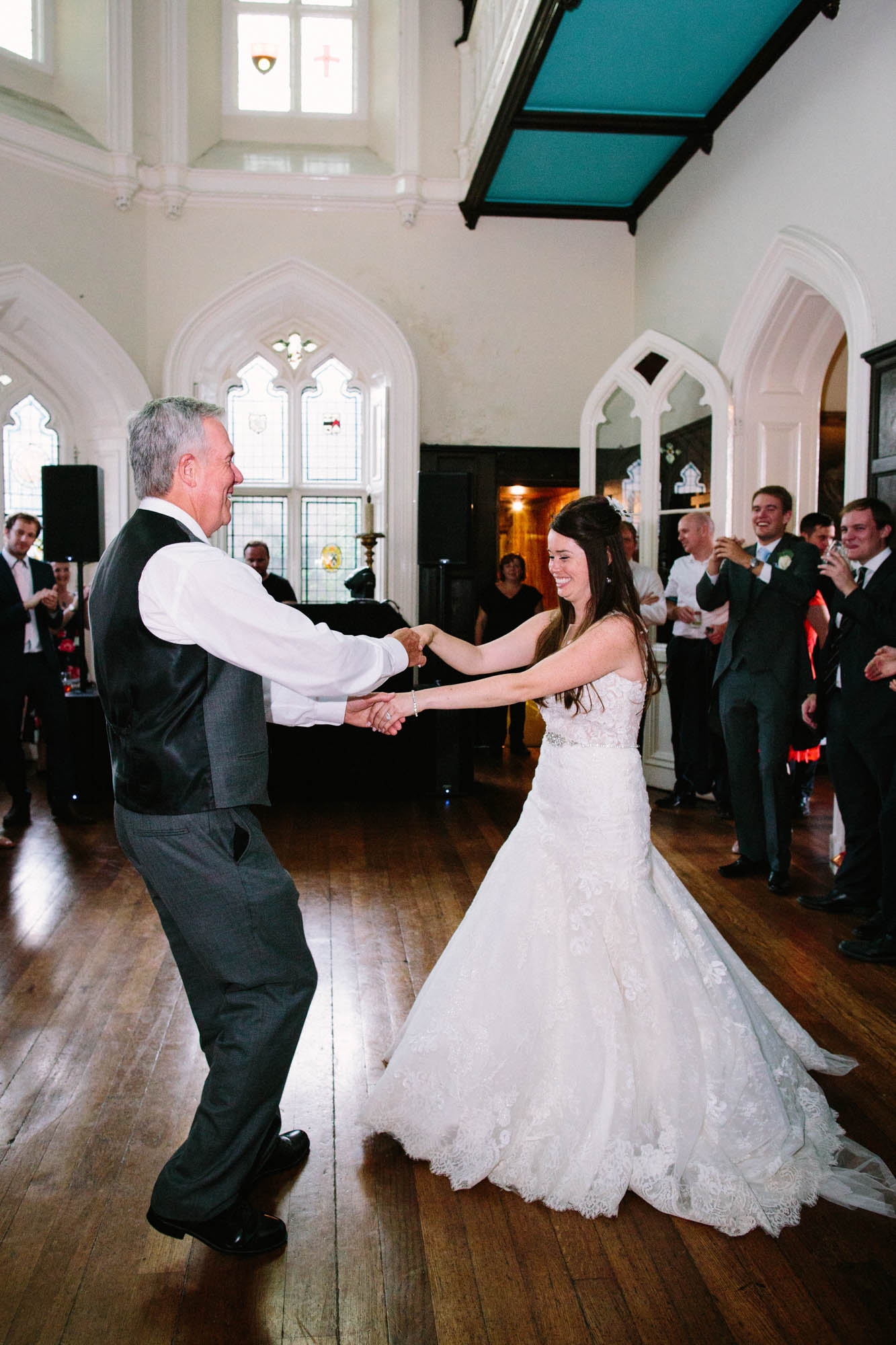 Bride dancing with her farther at Chiddingstone Castle wedding