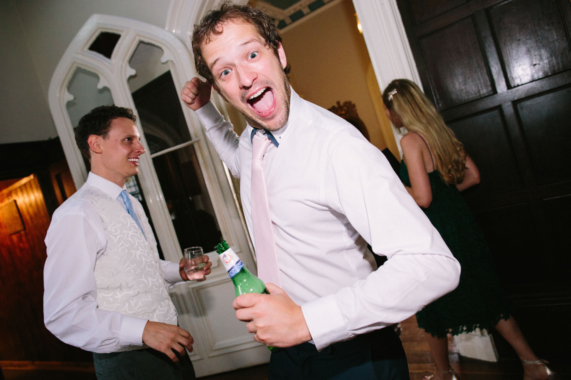 Guests making funny face on the dance floor at Chiddingstone Castle