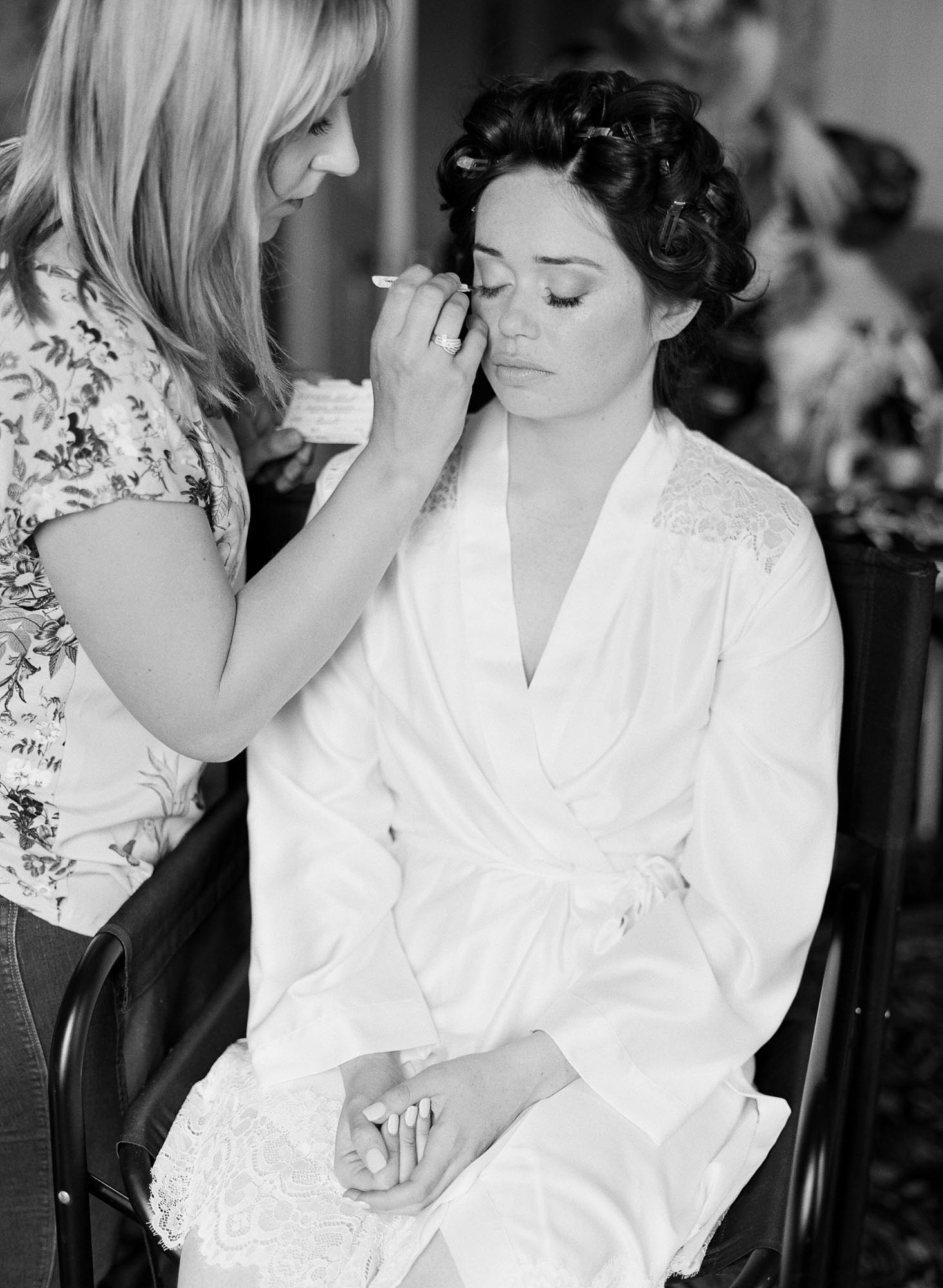 Black and white photograph of bridal hair and make up