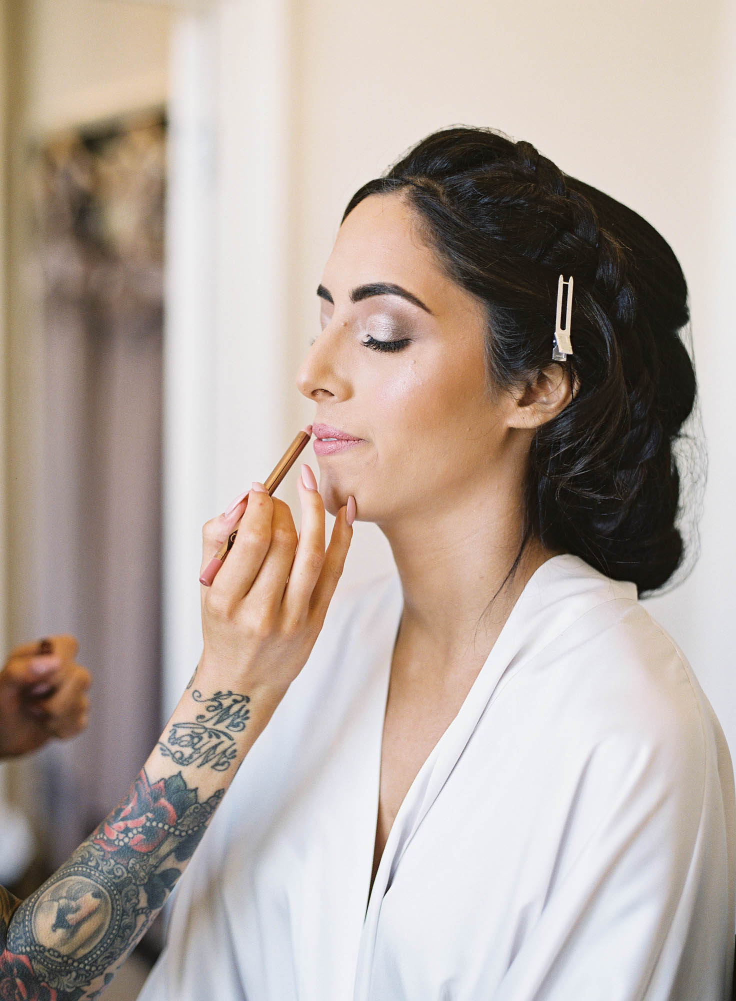 Bride having her make up done on morning of her Oxford Wedding