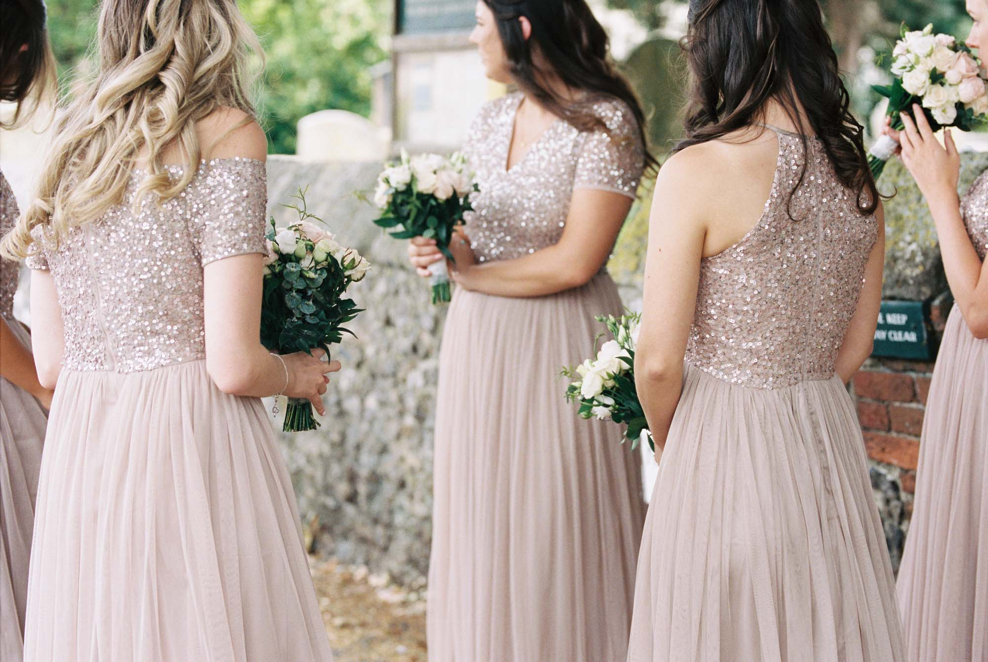 Blush sequin bridesmaids dresses
