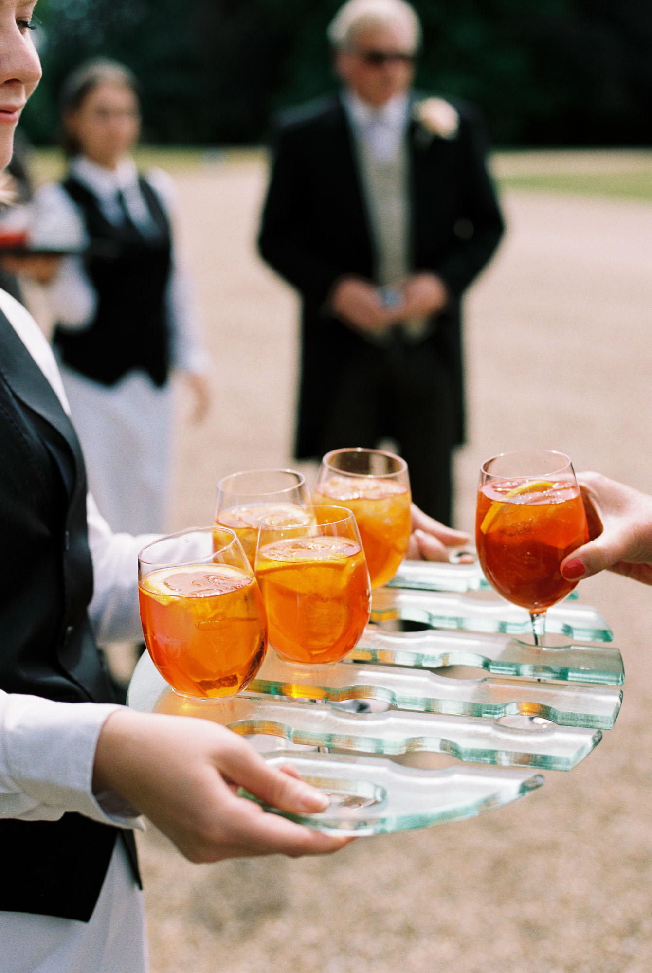 Drinks being served by Caper and Berry at Stansted House wedding