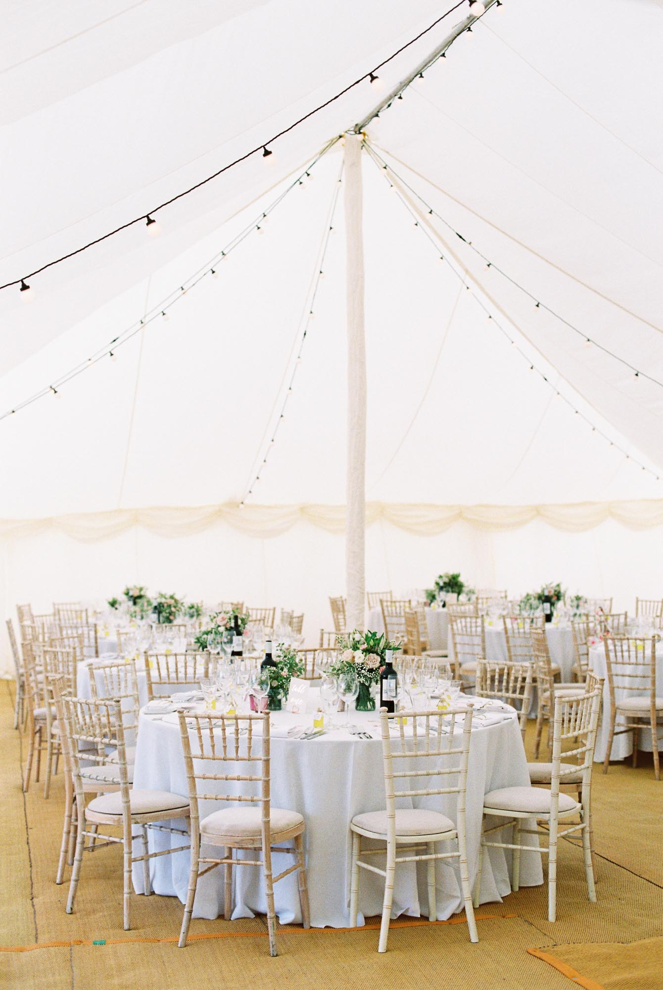 Wedding marquee dressed for a Stansted House wedding