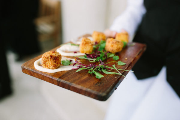 Wedding canapes at Stansted House wedding