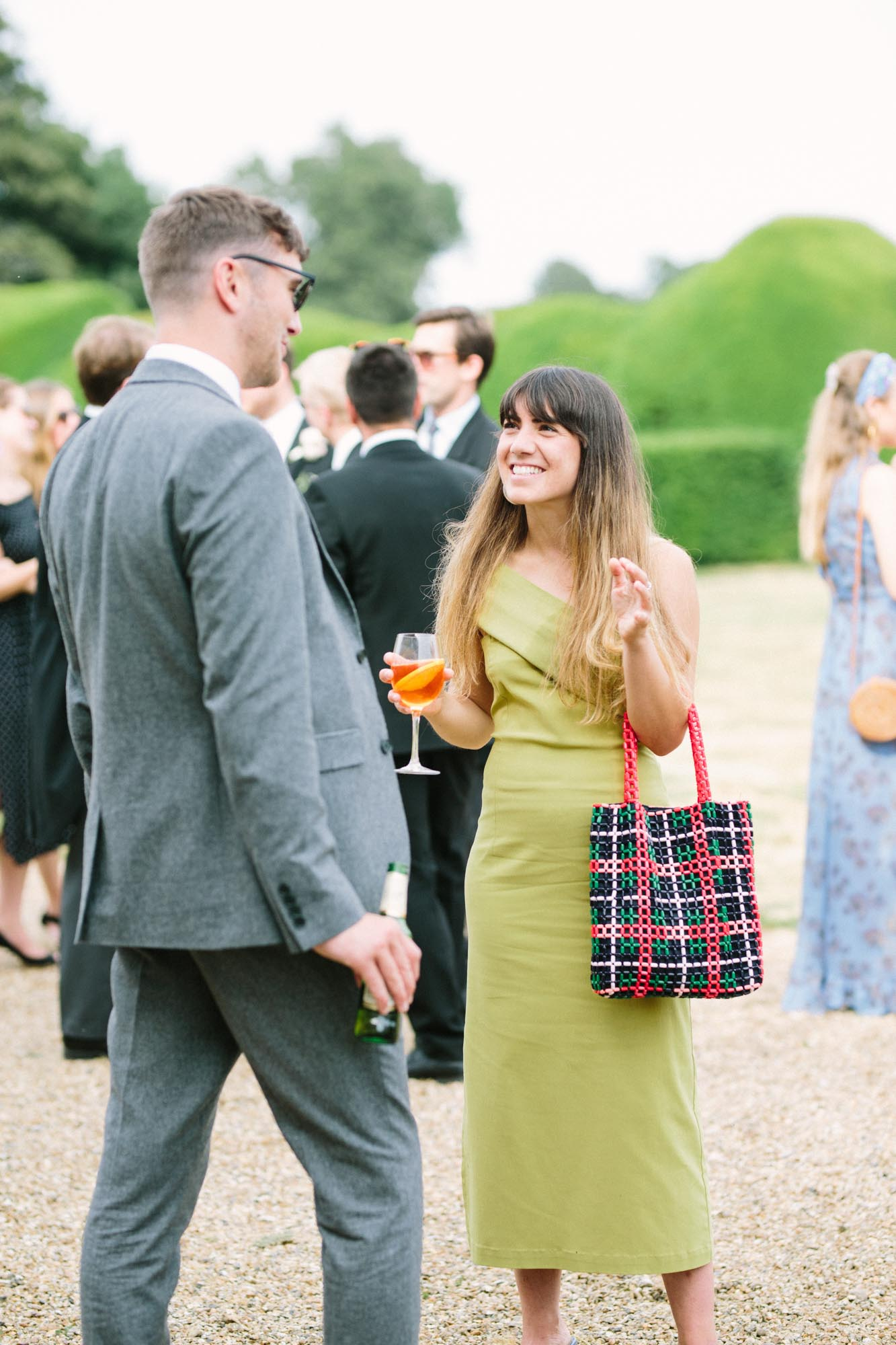 Stylish and elegant wedding guests at Stansted House