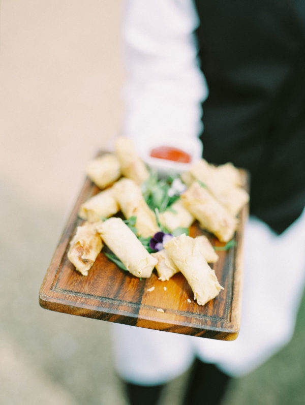 Spring roll wedding canapes