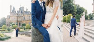 Waddesdon Manor wedding, couple walking in the gardens