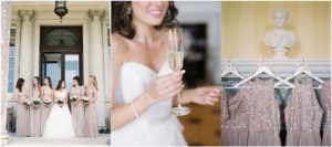 Bride with bridesmaids in nude sequin dresses on wedding day at Stansted House