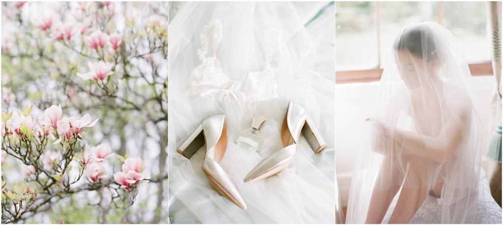 Wedding shoes, magnolia and bride in veil on wedding morning