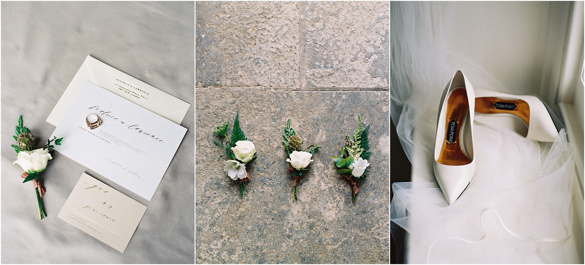 Luxury wedding button holes, Tom Ford bridal shoes and wedding stationery