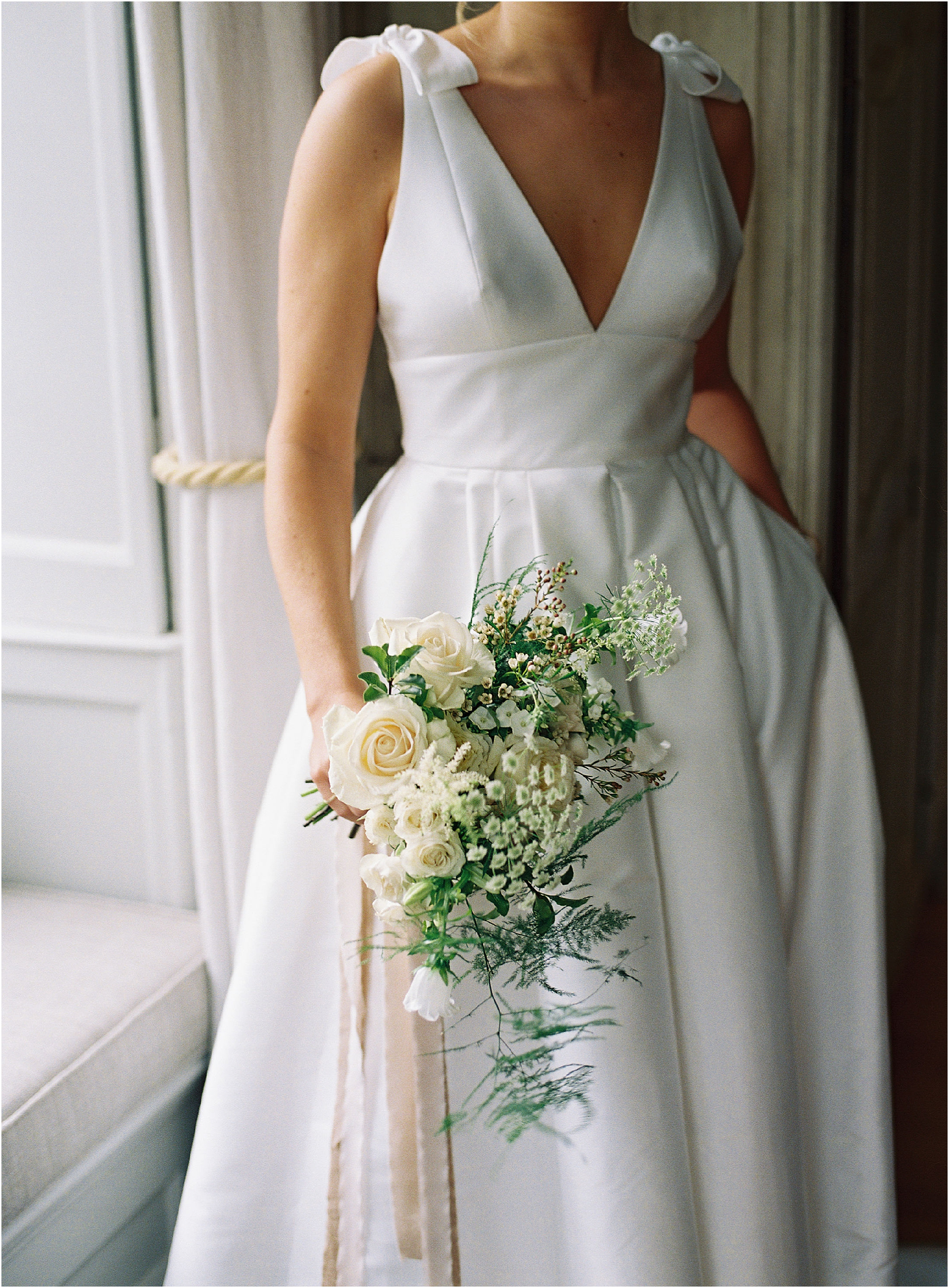 Natural white, cream and green bridal bouquet at Thorpe Manor wedding
