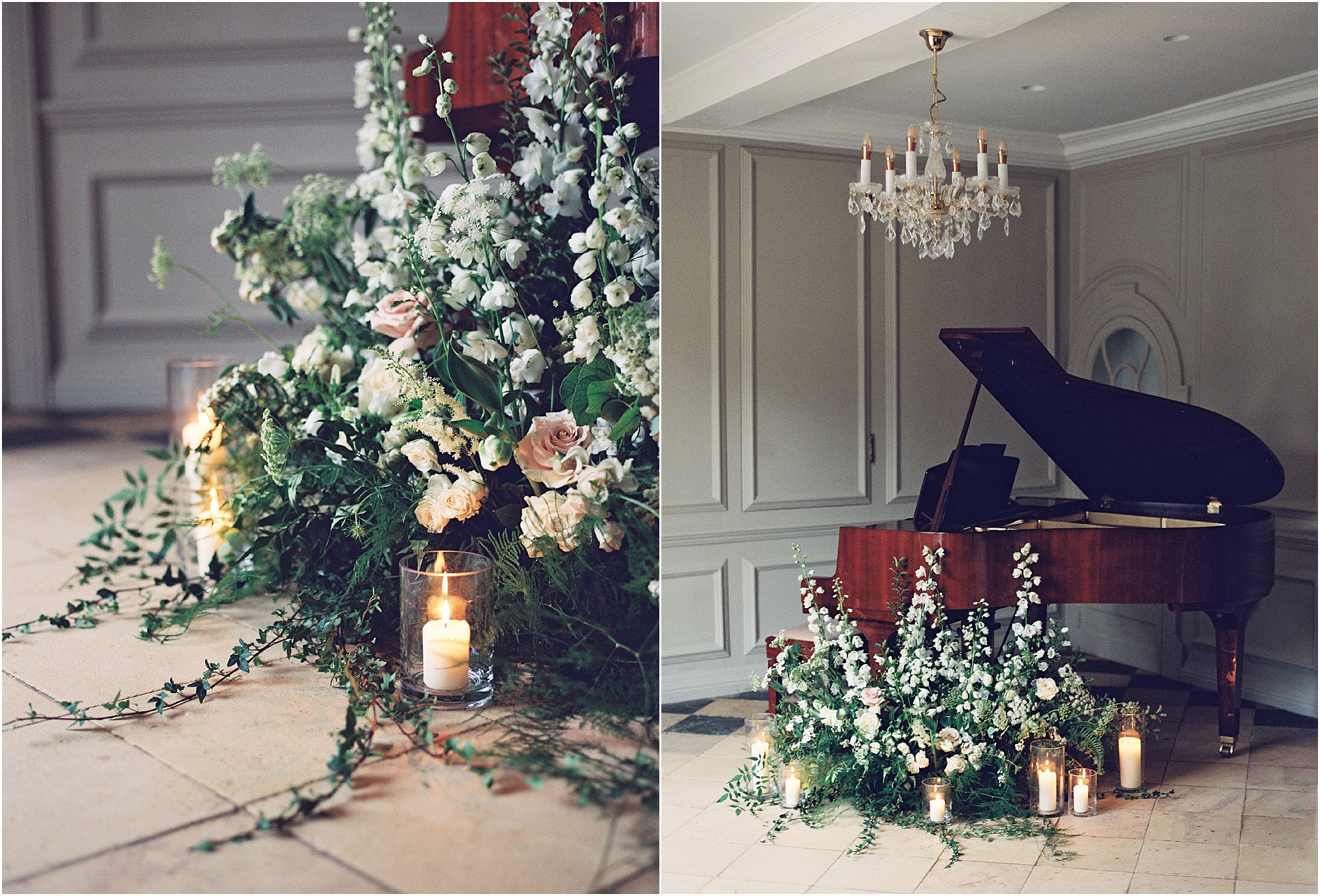 Grand piano at Thorpe Manor decorated with white, blush and green natural flowers