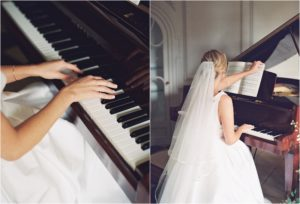 Bride playing the piano at a Thorpe Manor wedding
