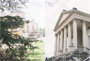 Chiswick House with pine trees outside