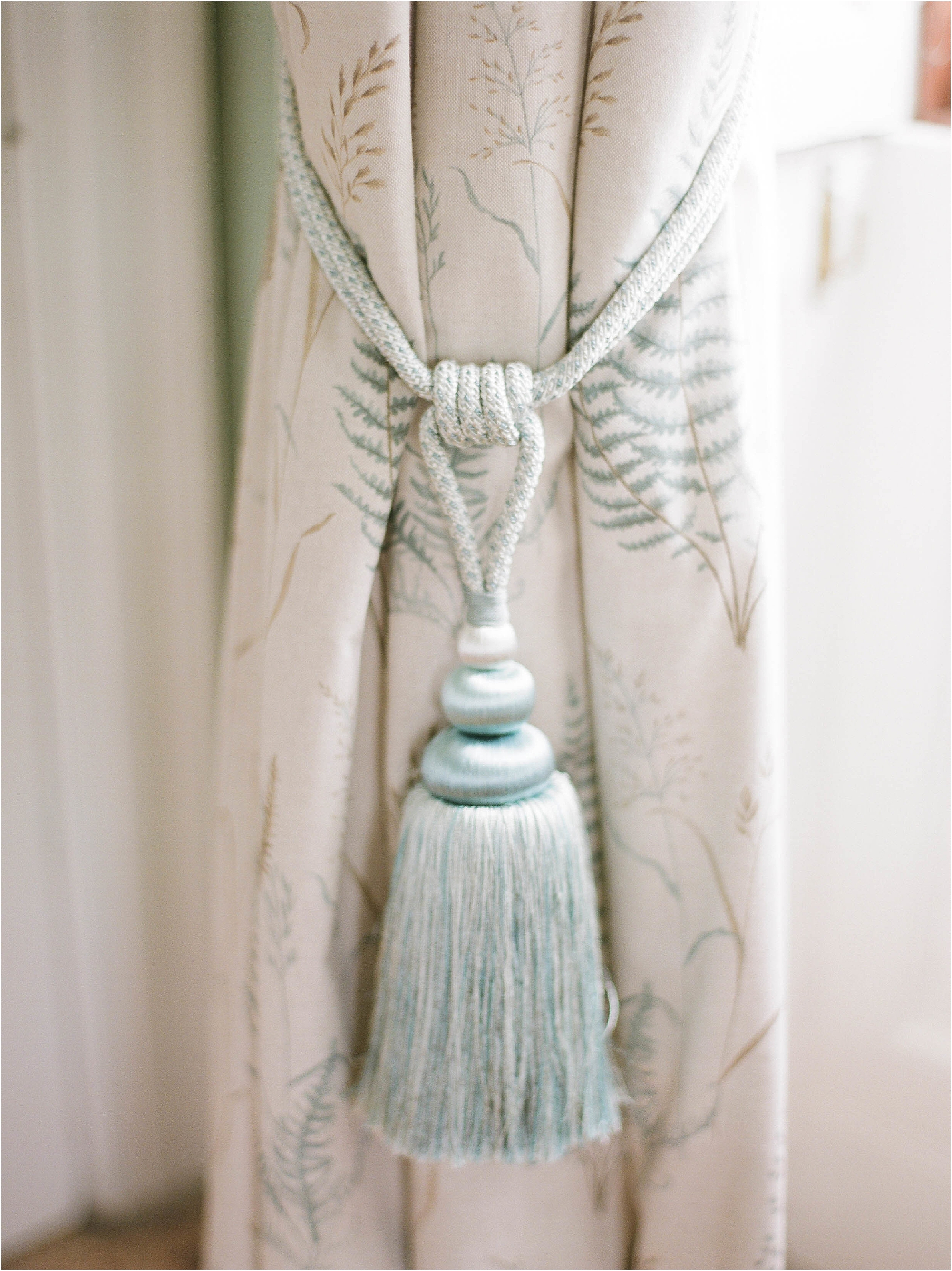 Silk tassel on curtain