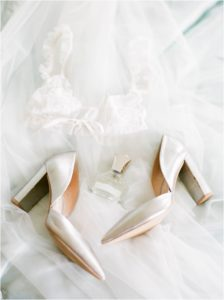 Silver shoes with bridal underwear and perfume