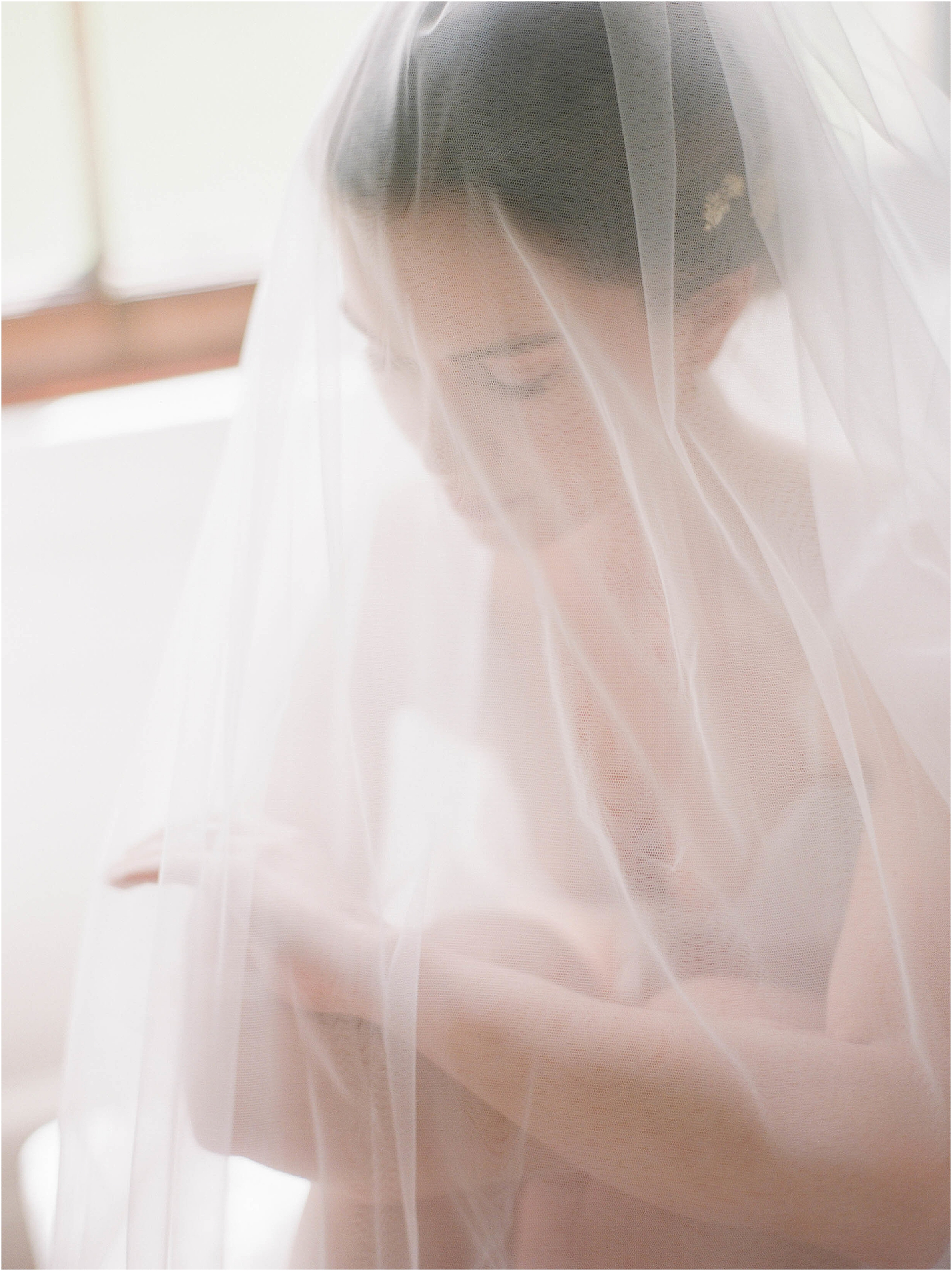 Dream photograph of bride with veil over her face