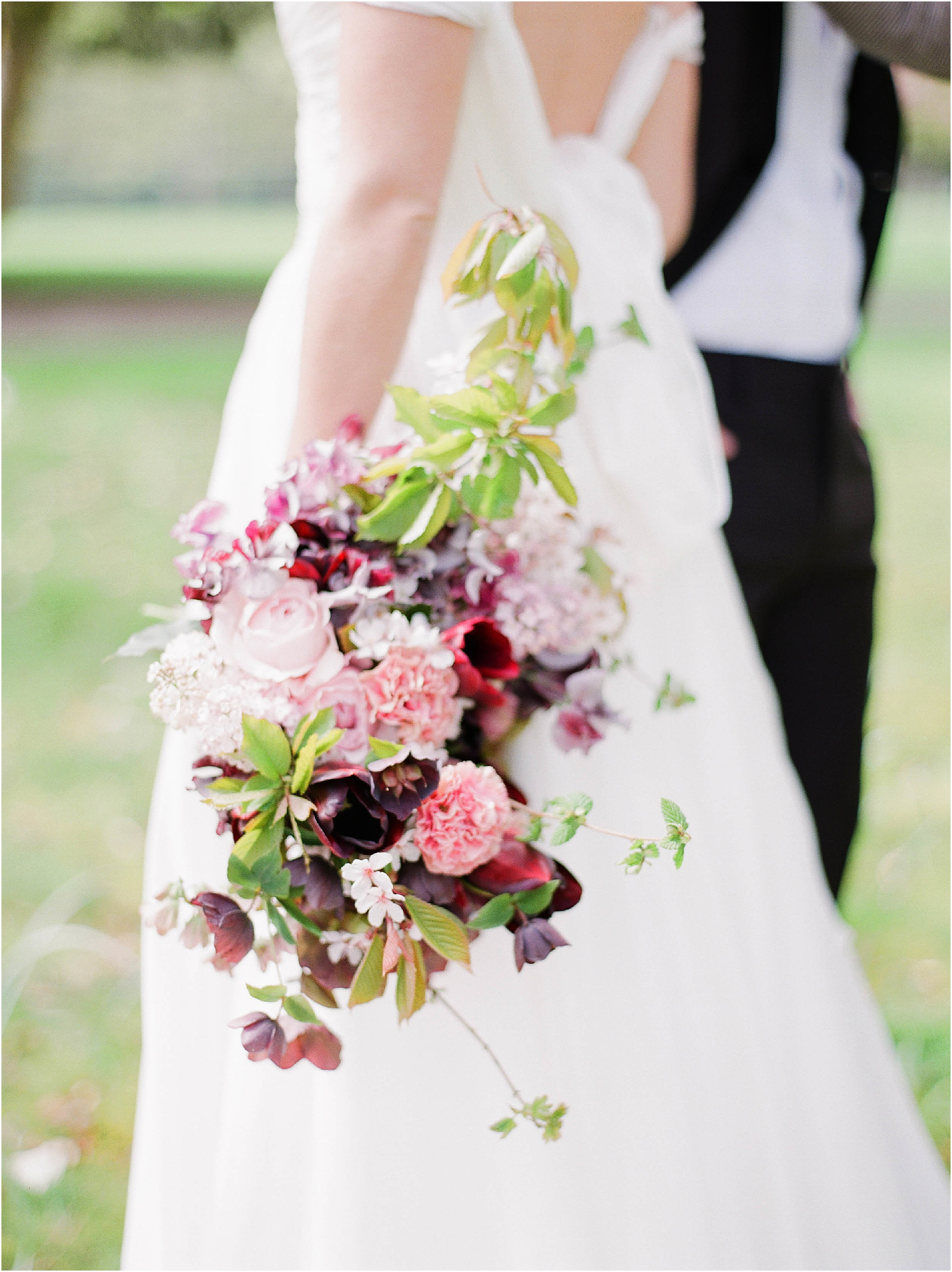 Red, pink and green bridal bouquet