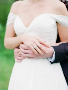 Wedding and engagement rings on bride and groom