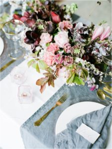 flowers on wedding breakfast table at spring wedding