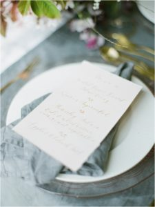Wedding breakfast menu by calligrapher Gemma Milly