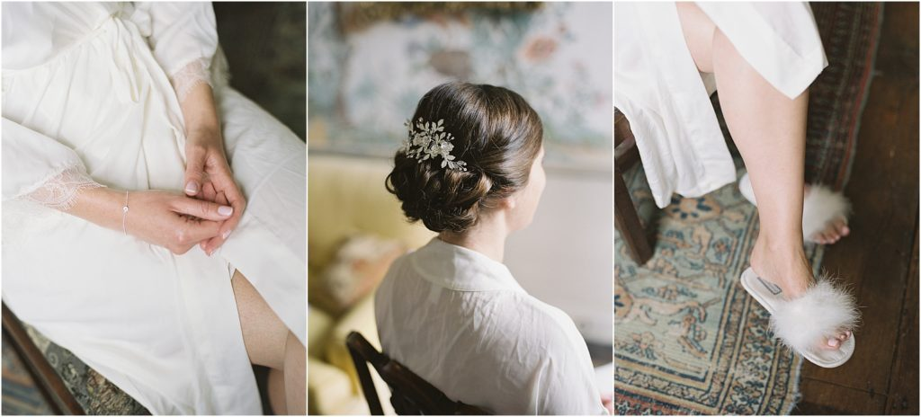 bride having hair and make up done at St Giles House