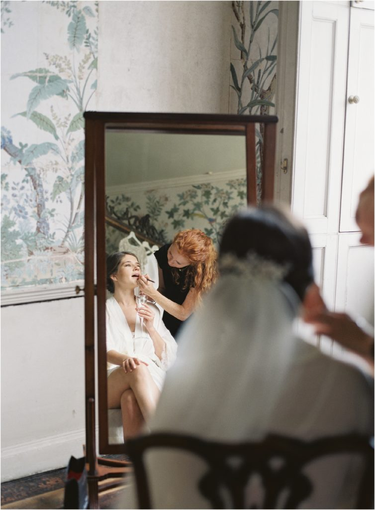 bride on the morning of her St Giles House wedding