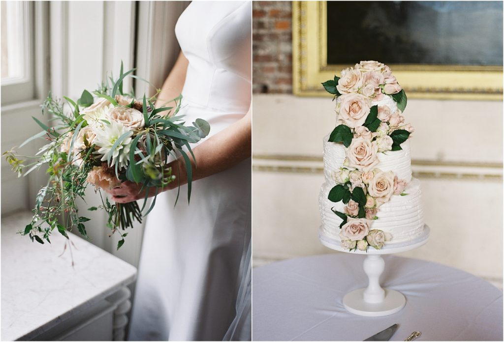 bridal bouquet and wedding cake