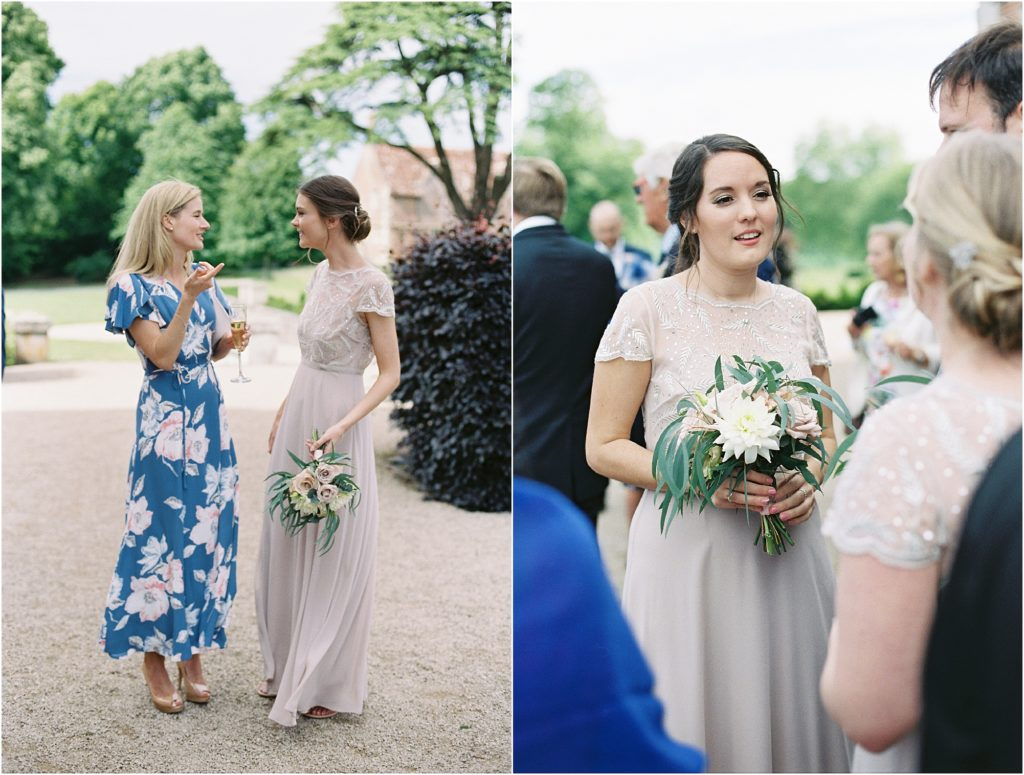 Guests mingling at St Giles House wedding