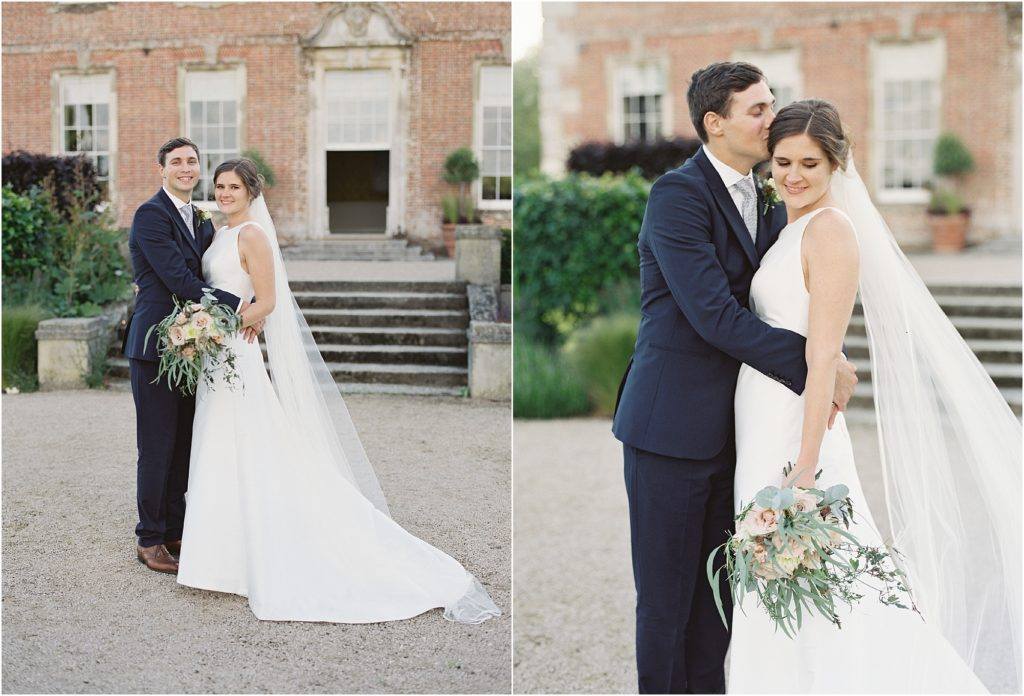 Bride and groom having a romantic moment at St Giles House Wimborne