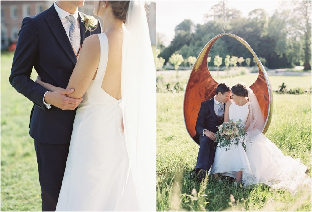 Bride and groom in love swing at St Giles House Wimborne