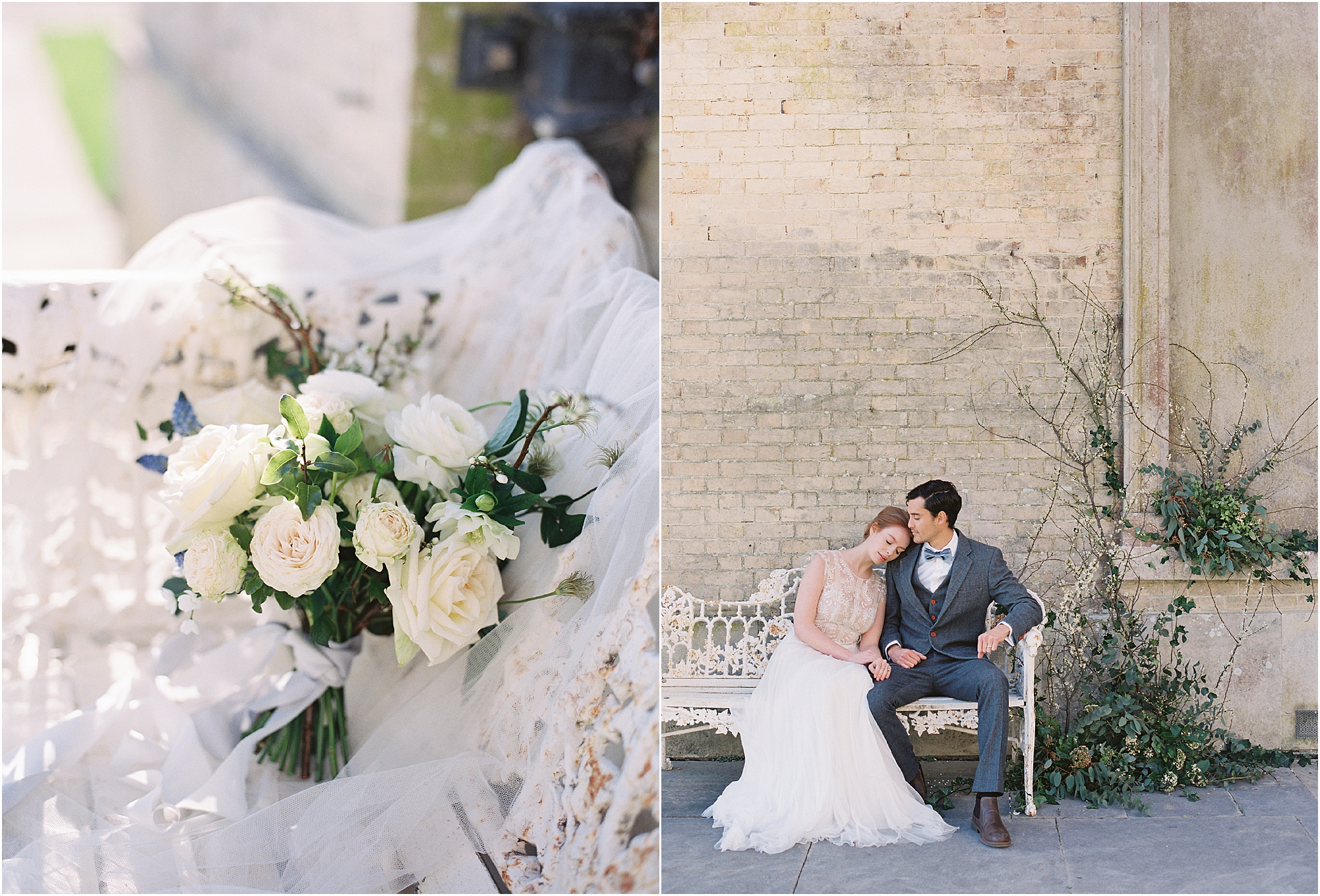 bridal bouquet and romantic couple sitting on bench