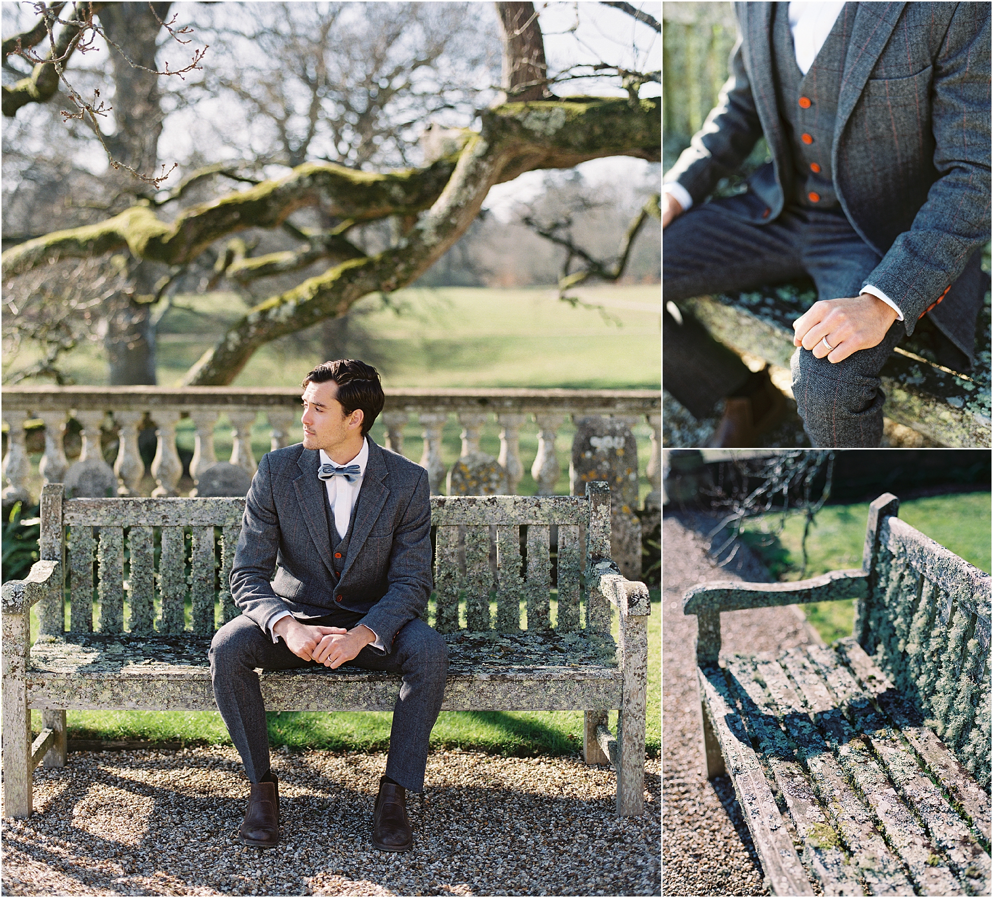 groom waiting for bride on old bench at Somerley House