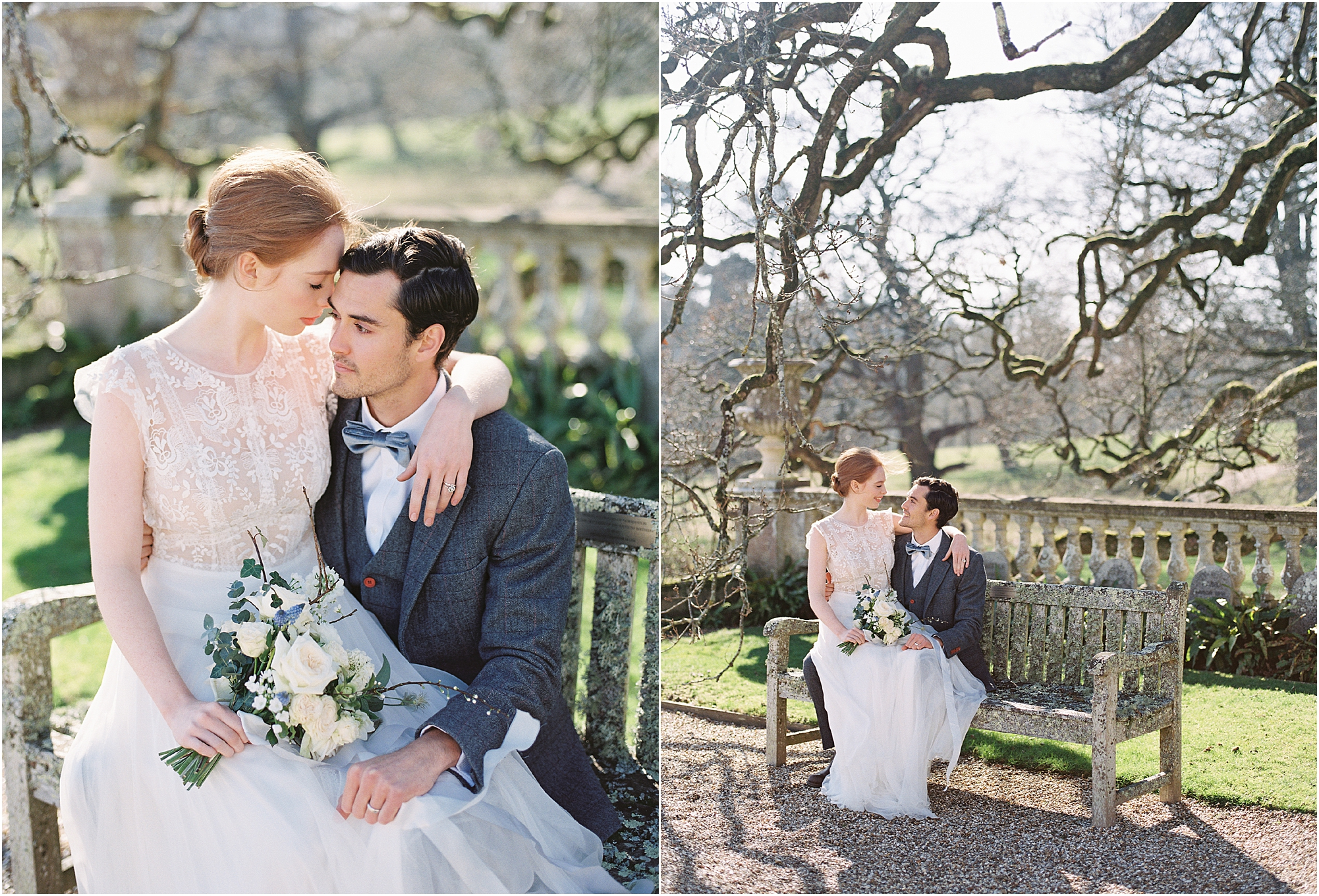 sophisticated bride and groom in the grounds of Somerley House Hampshire wedding venue