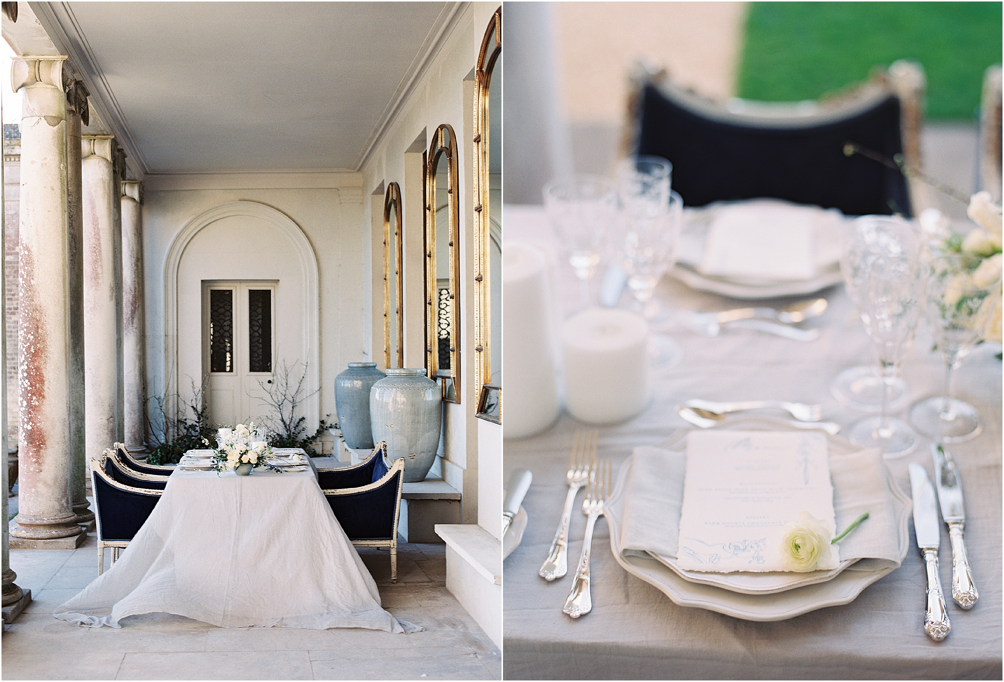 wedding breakfast table set at Somerley House