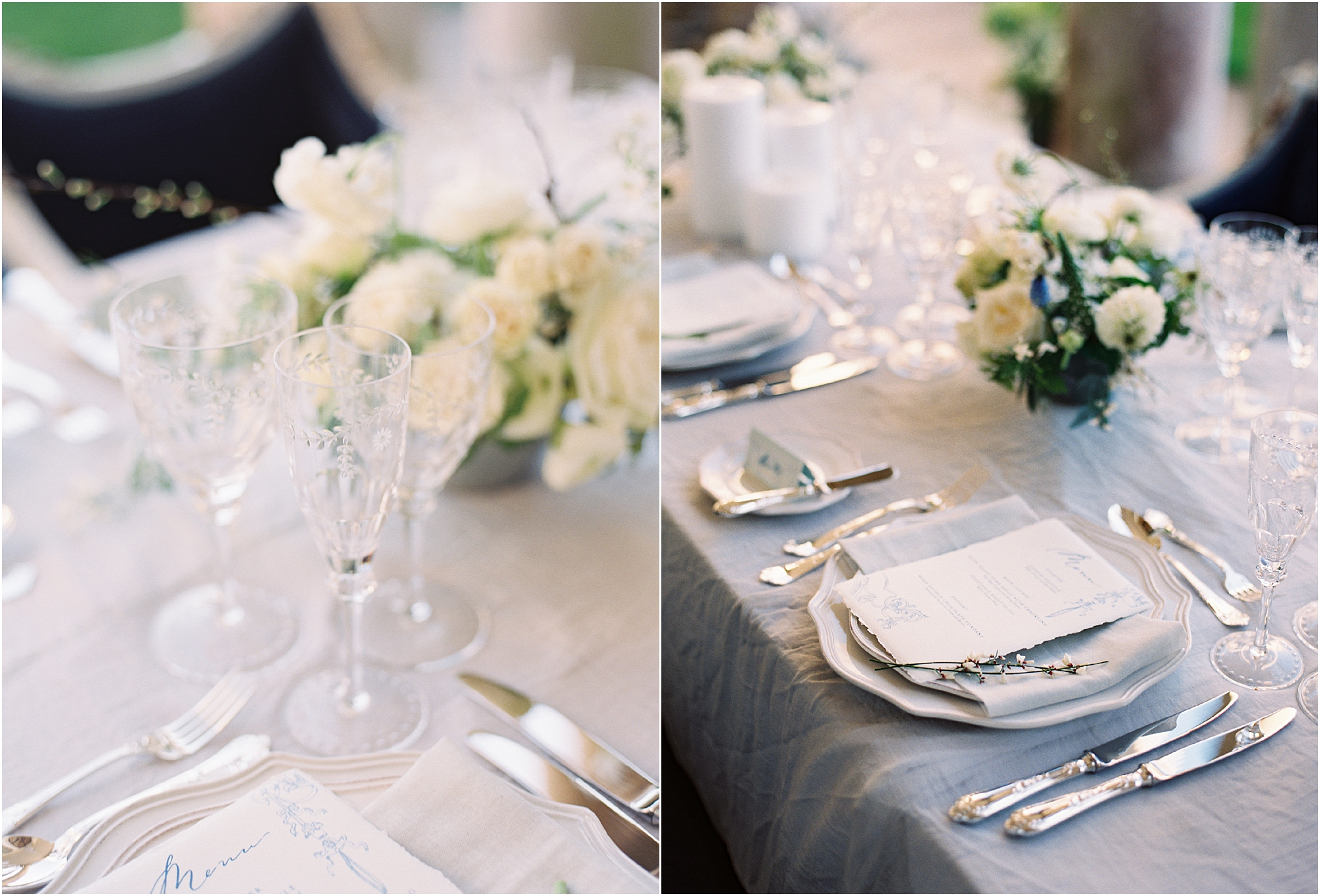 Table setting on table at Somerley House wedding