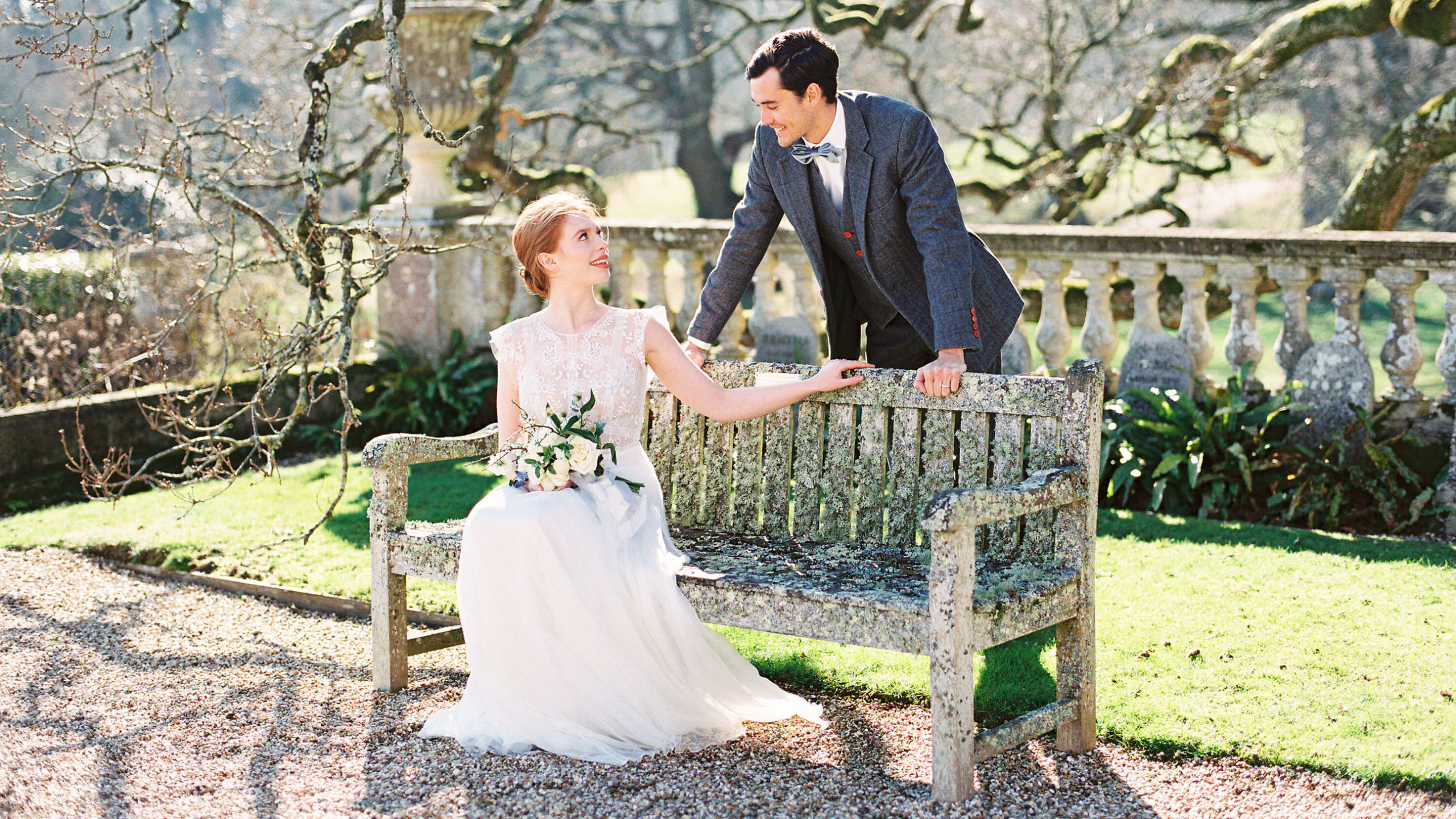 Elegant and sophisticated wedding couple in the grounds of Somerley House