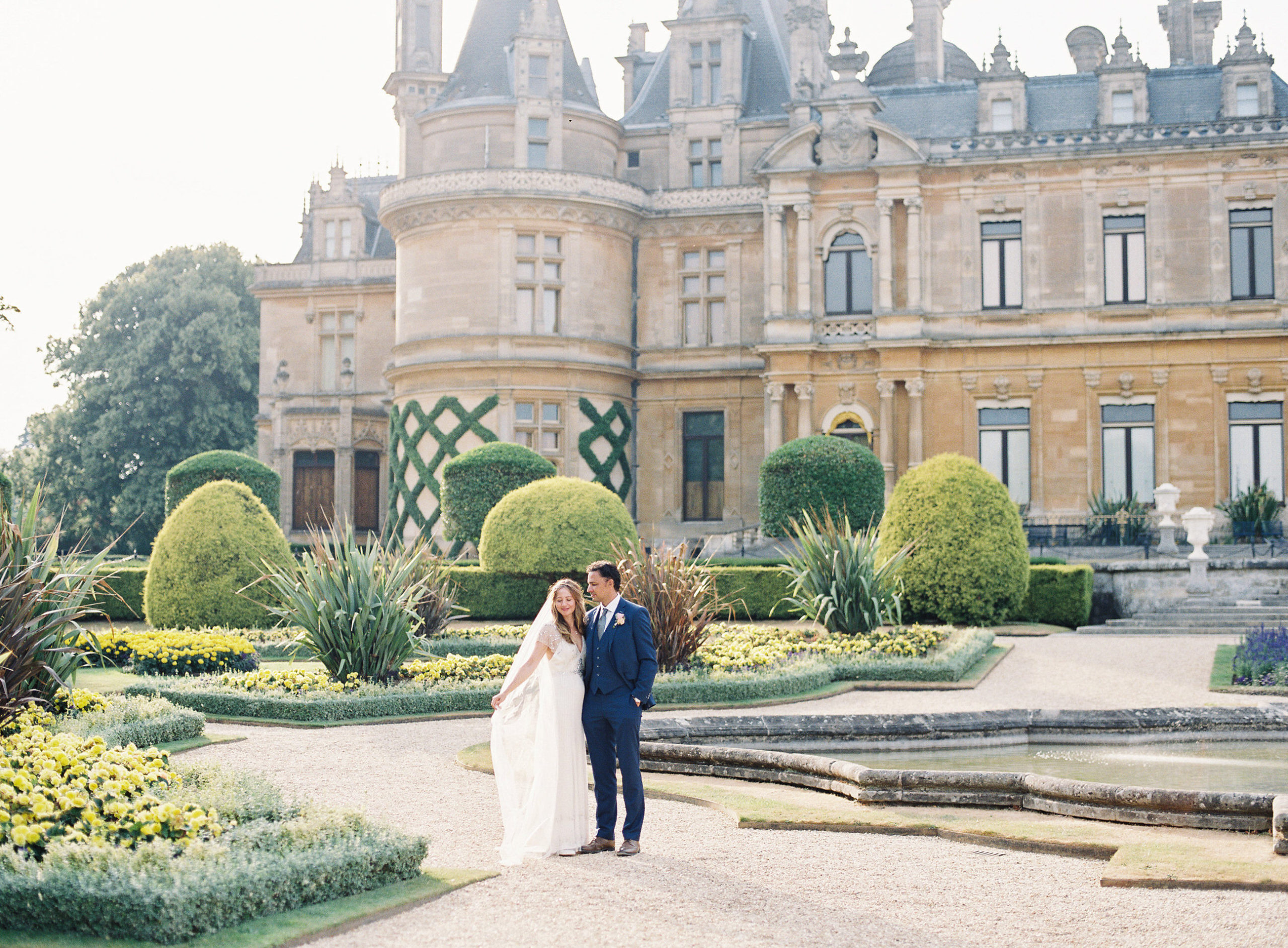 Wedding photography on film at Waddesdon manor