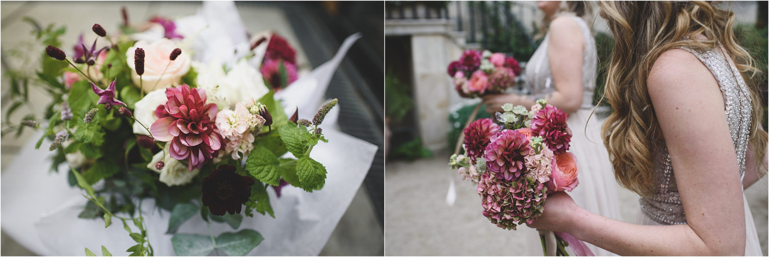 Red and maroon autumn wedding flowers