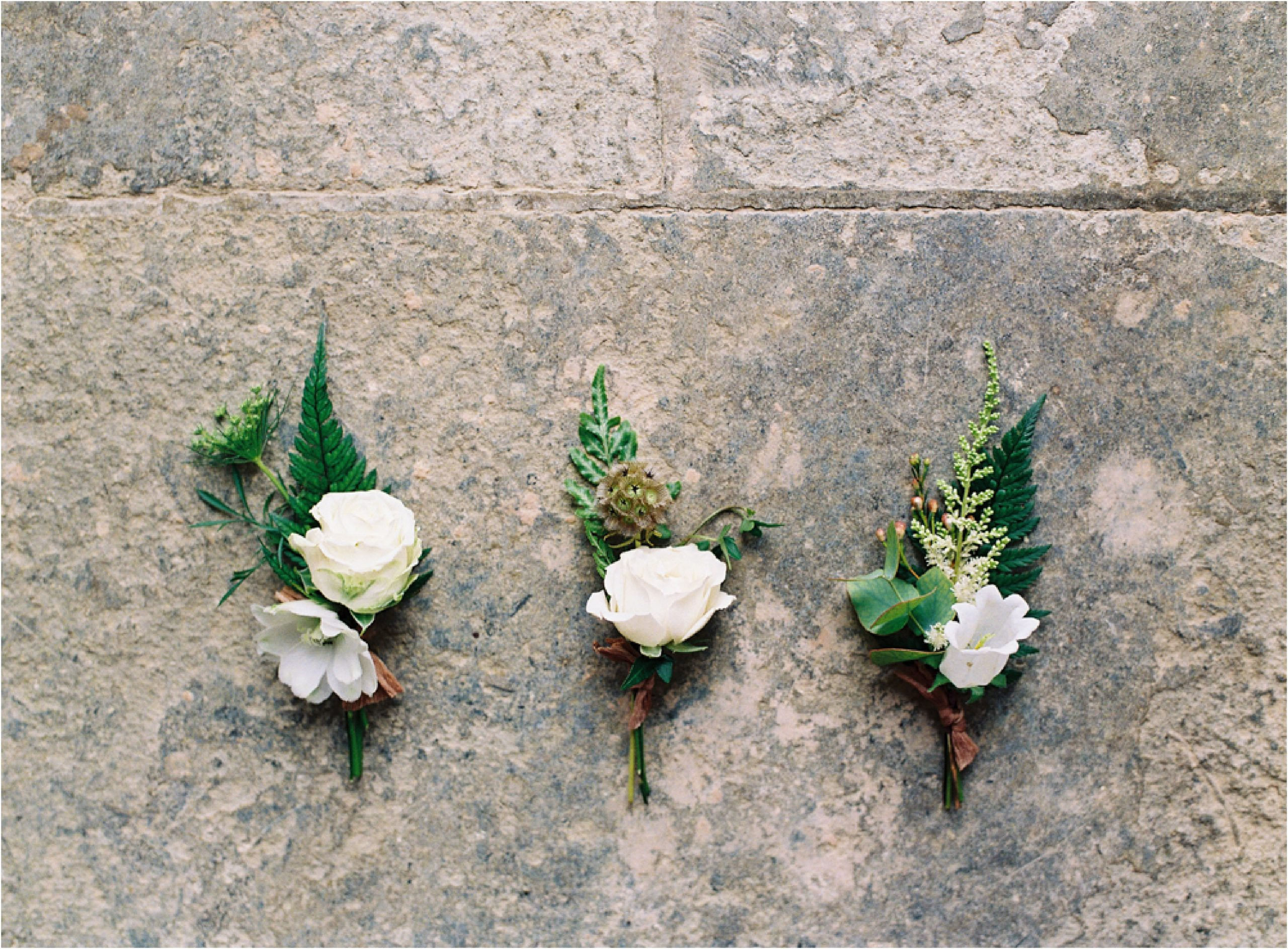 Autumn wedding buttonholes