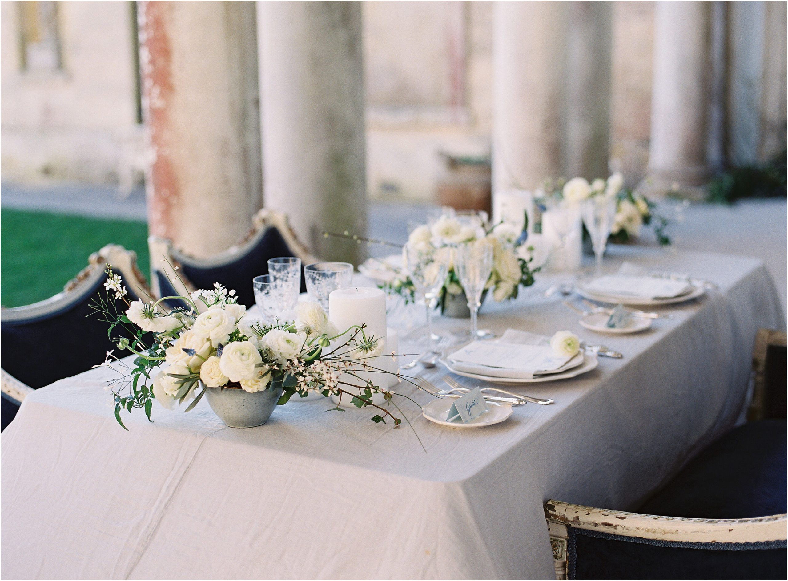 Wedding table set up for intimate wedding
