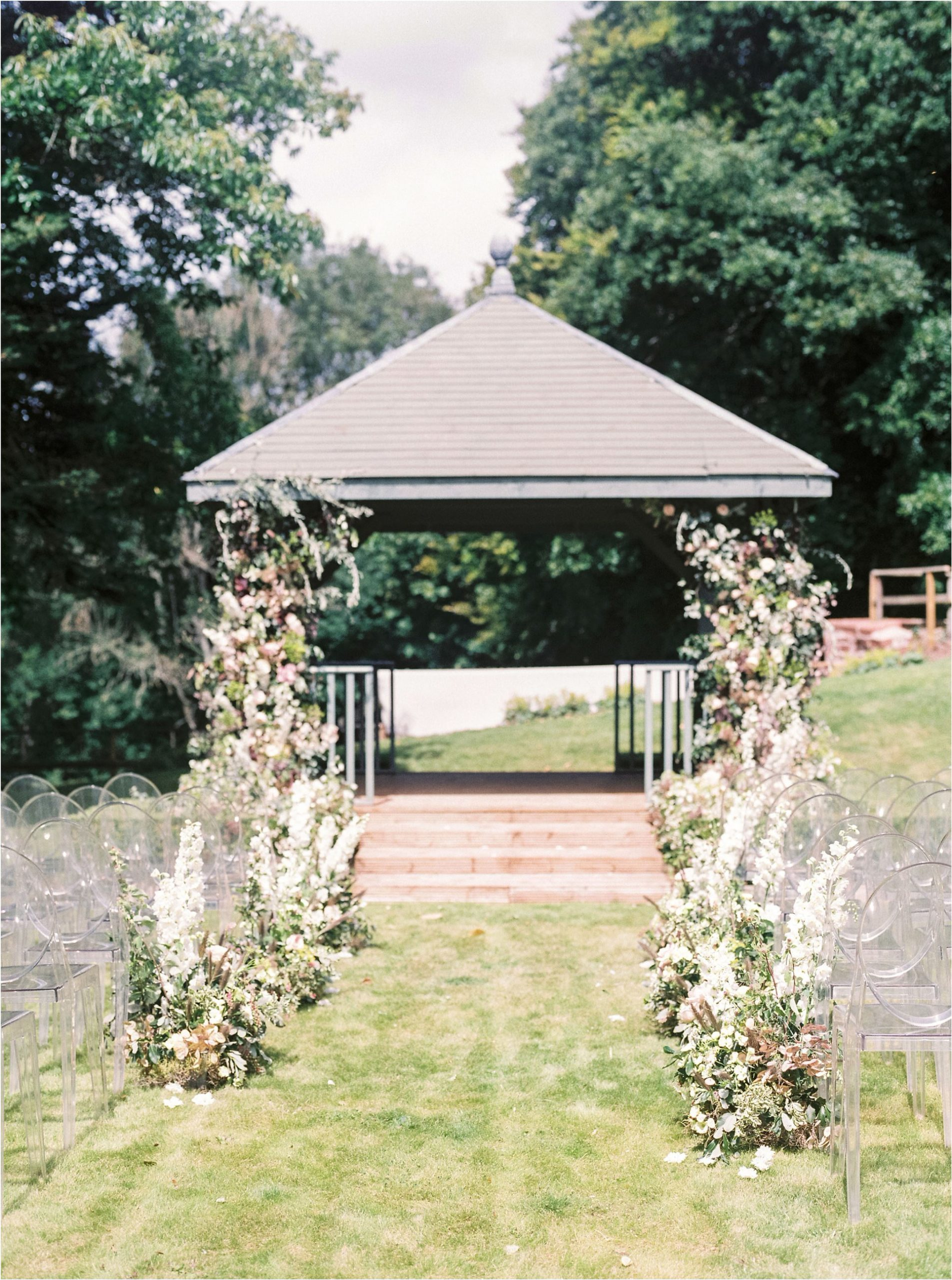 outdoor wedding ceremony at Ugbooke House