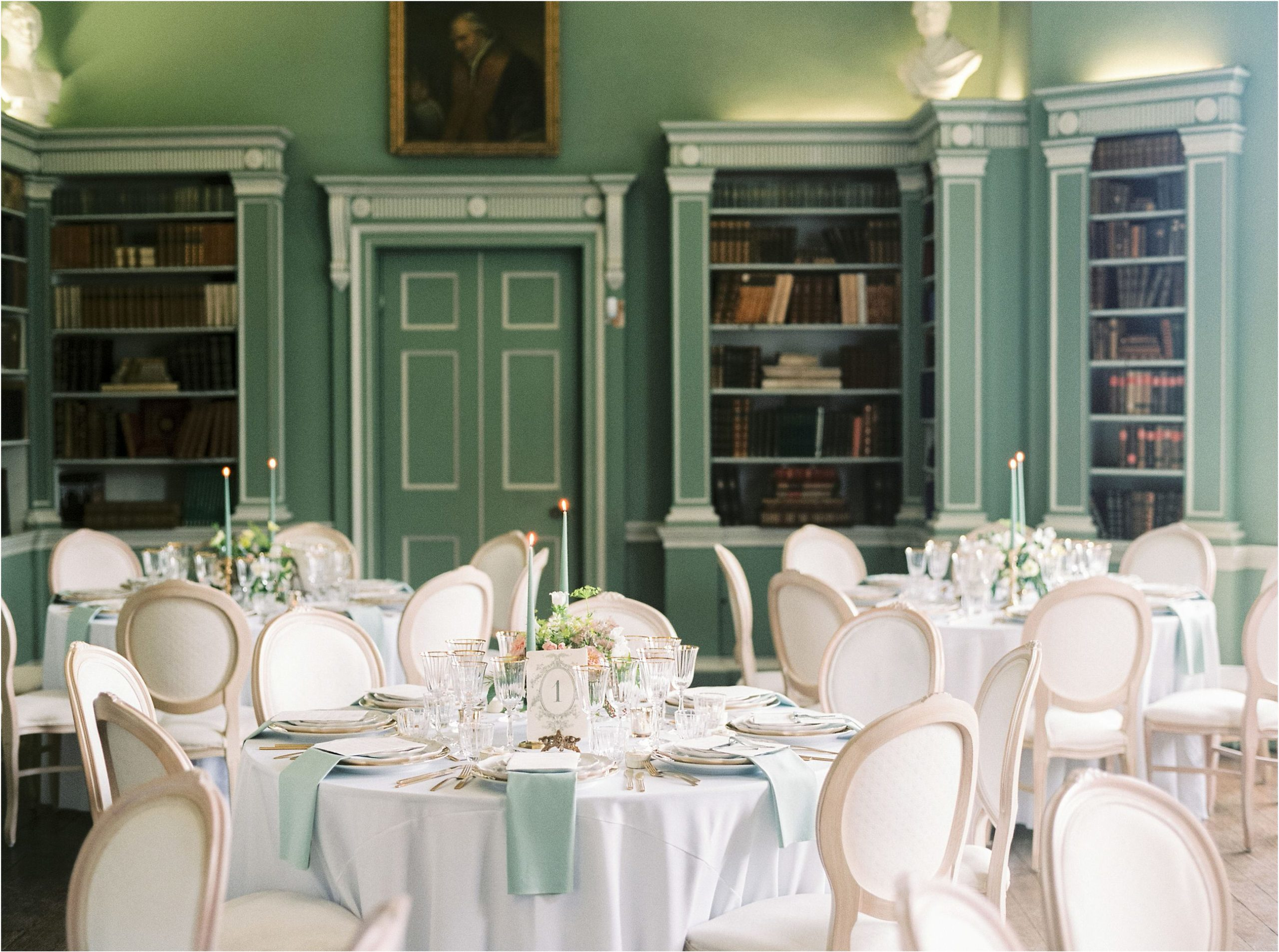 Library wedding breakfast at Ugbrooke House