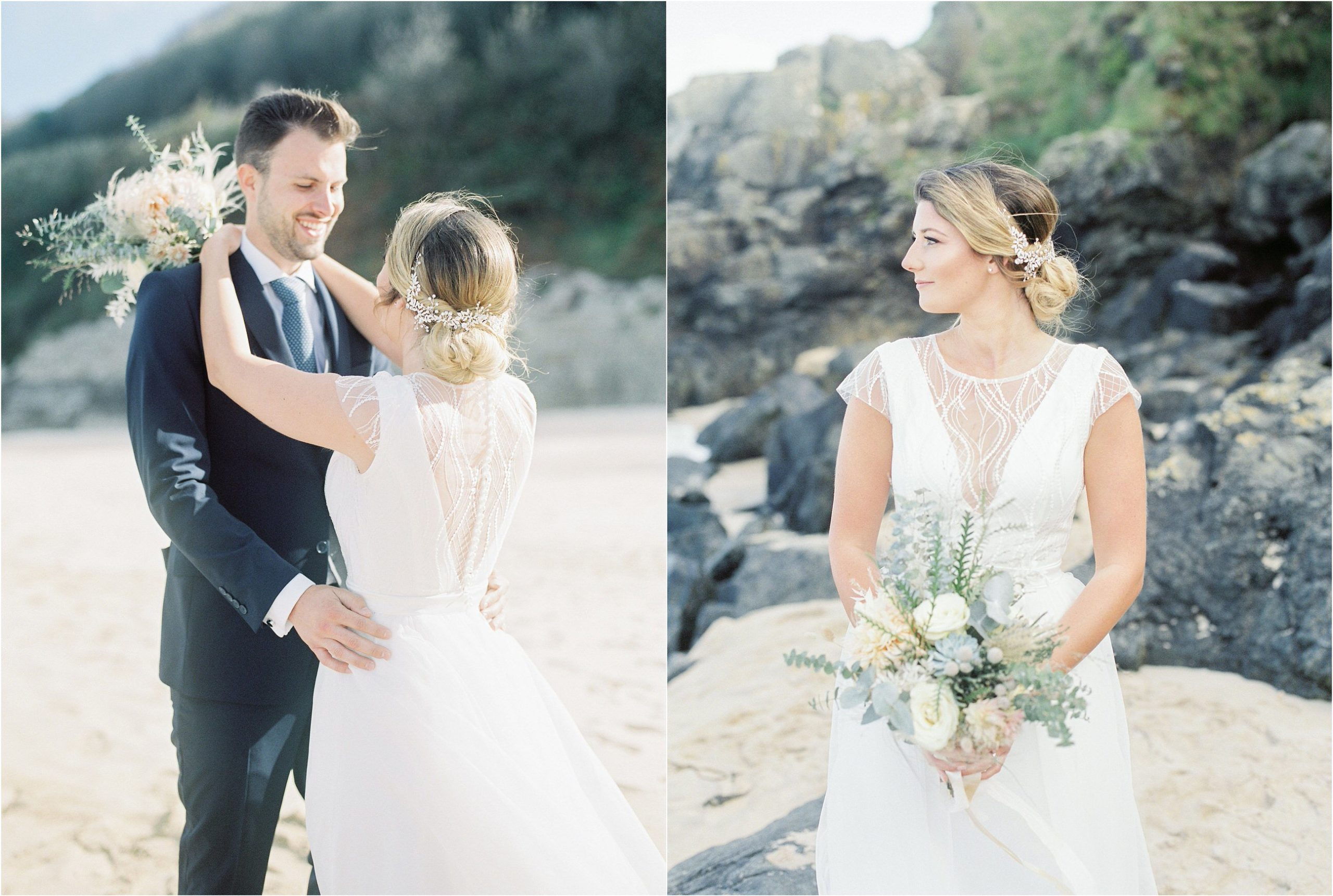 bride and groom kissing on beach photographed on film