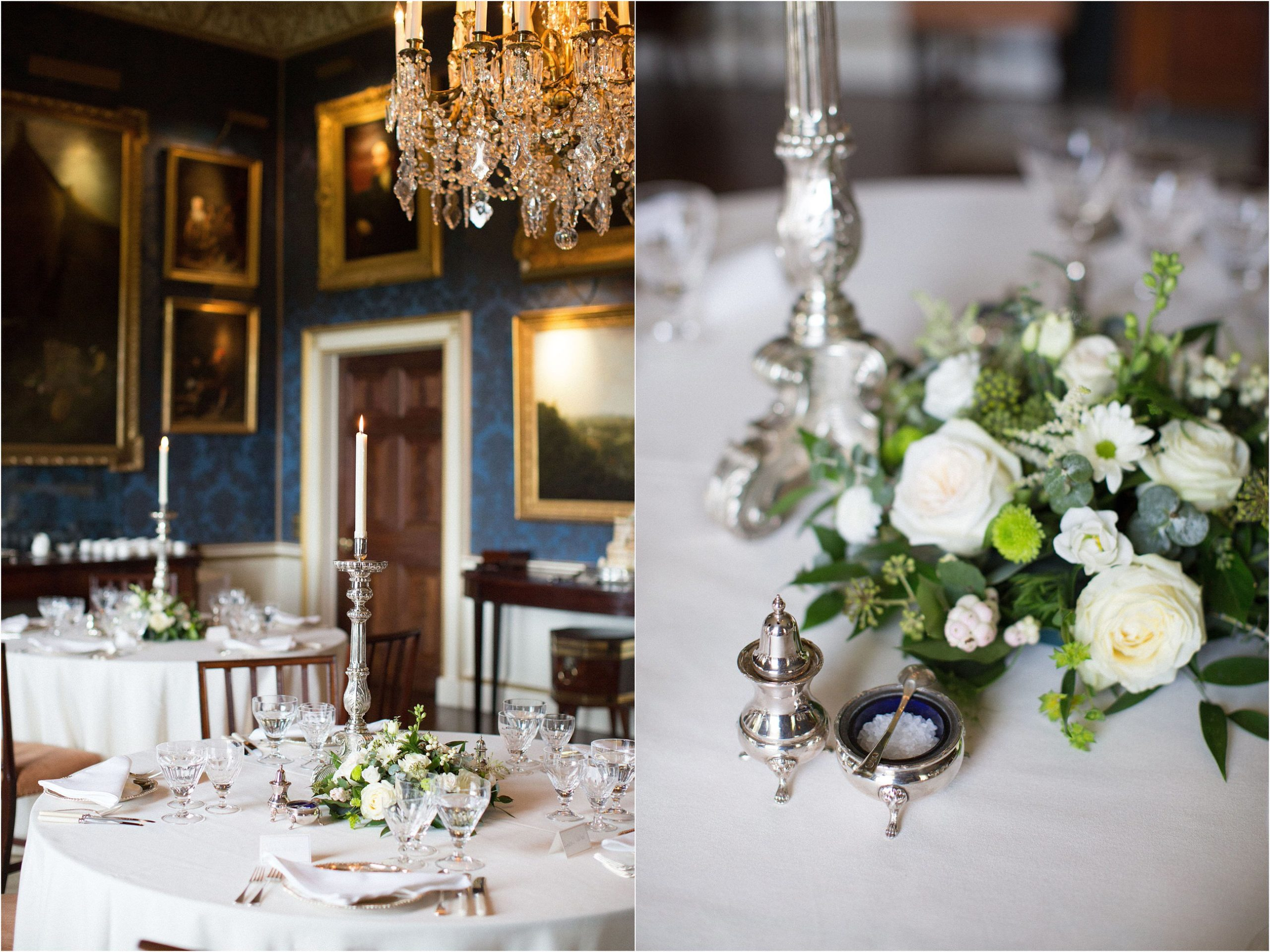 Wedding breakfast in dining room at Ugbrooke House